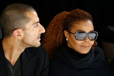 Artist Janet Jackson (C) and her husband  Wissam Al Mana (L) attend the Hermes Spring/Summer 2016 women's ready-to-wear collection show in Paris, France, October 5, 2015. REUTERS/Benoit Tessier/File photo